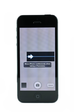 iphone5: Capture screen of the new panorama feature on iPhone 5, isolated on white Editorial