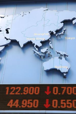 Stock price dropping, with pacific region in map