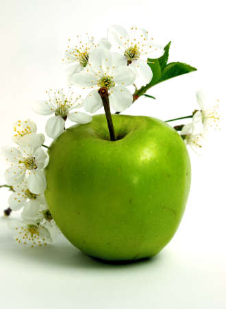 green apple: green apple and flower Stock Photo