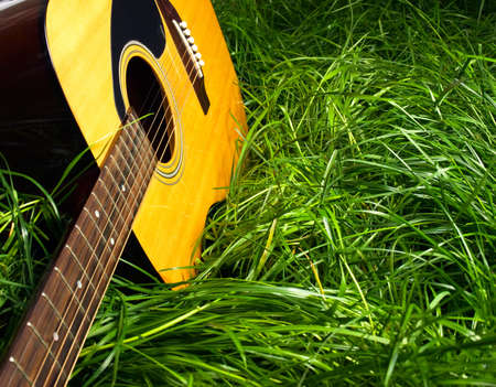 lying on grass: Guitar in Grass Stock Photo