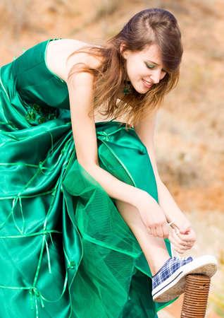 beautiful girl in green dress Stock Photo - 5665942
