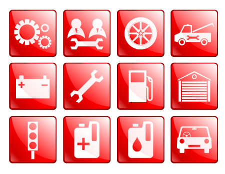 benzine: Auto icons Illustration