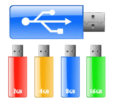 Colored USB flash drive Vector