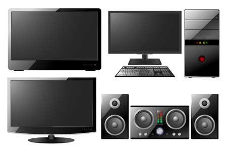 computer, monitor, music center Vector
