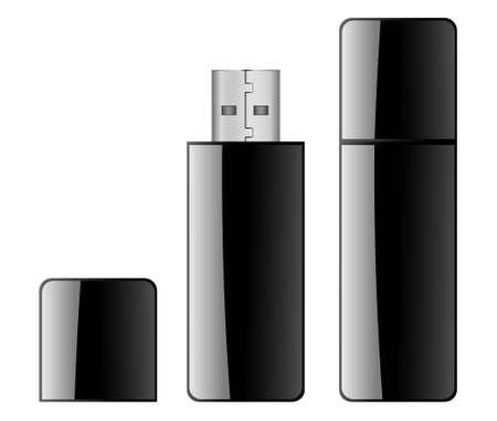 gigabyte: Black USB Flash Drive Illustration