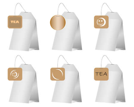 infuser: illustration of a tea bag on white