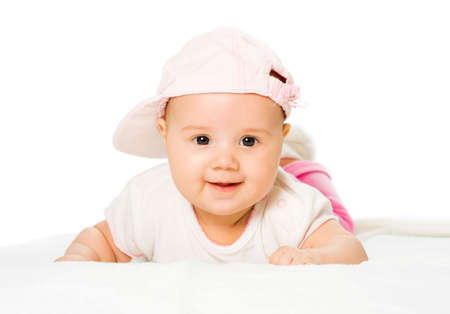 face cloth: Portrait baby girl wearing pink hat
