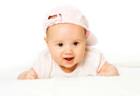pink hat: Portrait baby girl wearing pink hat
