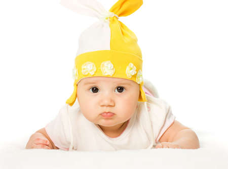 Portrait of three months old baby girl Stock Photo