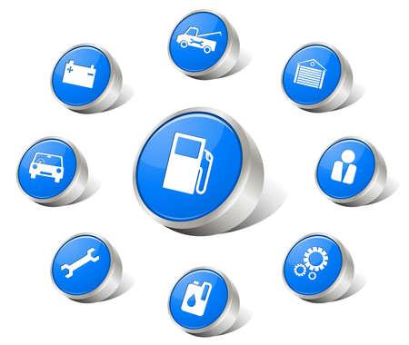 button batteries: Auto icons blue