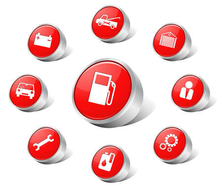 baterii: Ikony auto czerwony Ilustracja