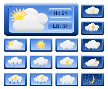 rainy season: Icons for weather report.  Illustration