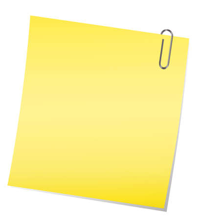 yellow sticky note with paper clip Vector