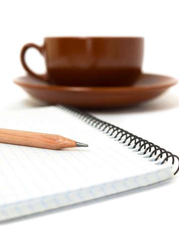 Pencil & notebook & coffee  Stock Photo