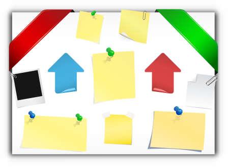 sticky note: Corner ribbon & sticky note Illustration