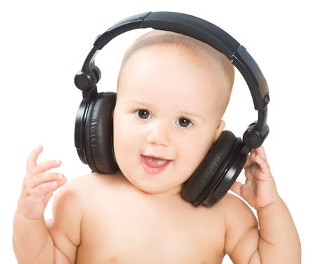 hears: Smiling baby with headphone