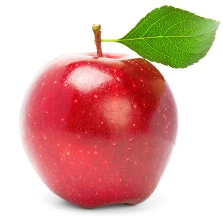 manzana roja: Manzana roja con hoja verde. Aislados en blanco
