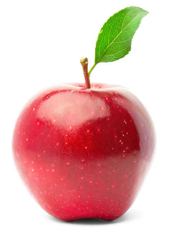 apple red: Red apple with green leaf. Isolated on white