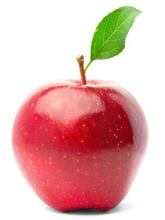 사과: Red apple with green leaf. Isolated on white