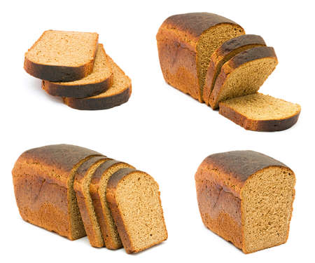 isolated bread on white background  photo