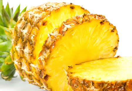 Fresh slice pineapple on white background Imagens - 8775642
