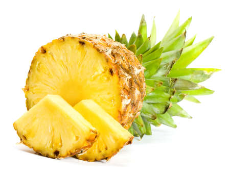 cut up: Fresh slice pineapple on white background