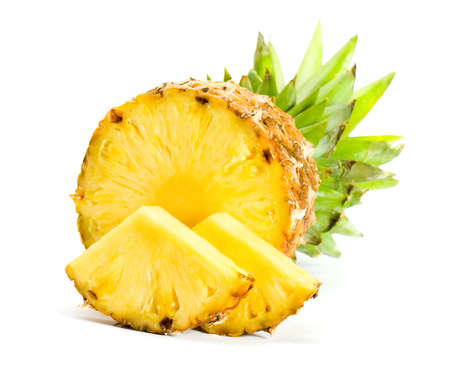 Fresh slice pineapple on white background