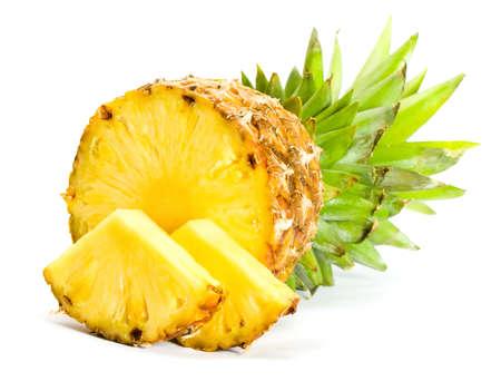 pineapple slice: Fresh slice pineapple on white background