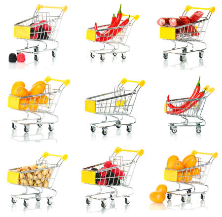 Products in the shopping cart. set. Stock Photo - 8875064