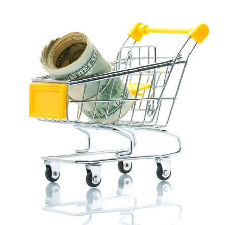 Dollars in the shopping cart photo
