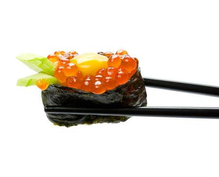 白い背景で隔離の箸と寿司 写真素材 - 8875069
