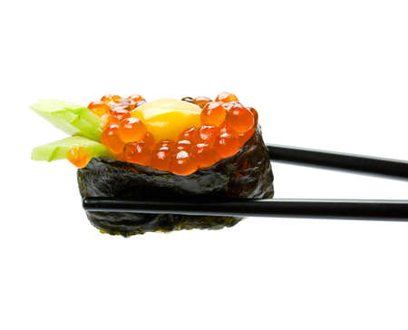 Sushi with chopsticks isolated over white background
