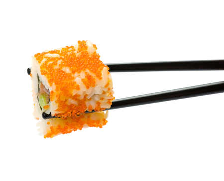 susi: Sushi with chopsticks isolated over white background