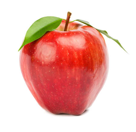 delicious: Ripe red apple on a white background
