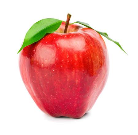 mela rossa: Fresco mela rossa su sfondo bianco
