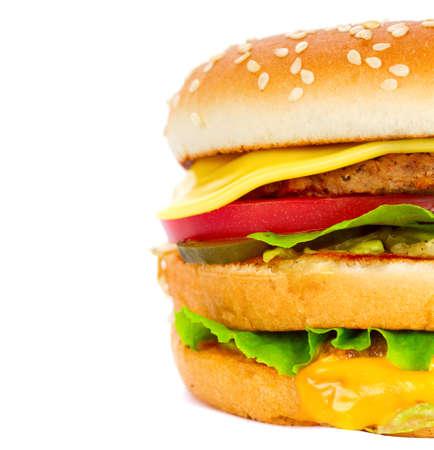 cheeseburger isolated on white  photo