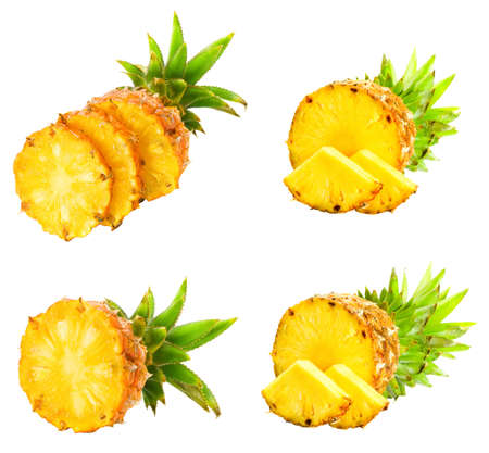Fresh slice pineapple isolated over white background.  Stock Photo