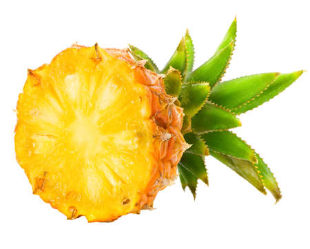 Fresh slice pineapple isolated over white background.  photo