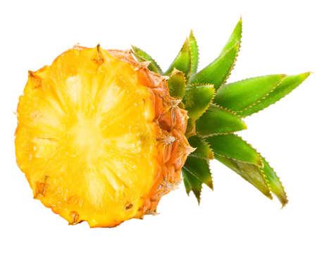 Fresh slice pineapple isolated over white background.  Stock Photo