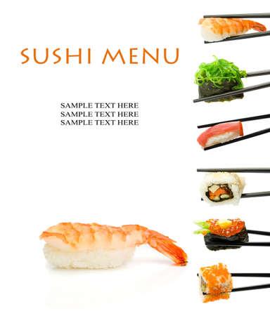 japanese cooking: Sushi menu  Stock Photo