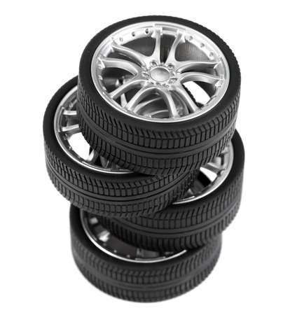 Car wheels on white background. Stock Photo