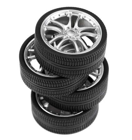 Car wheels on white background. Standard-Bild