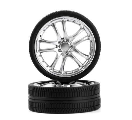 Car wheels on white background. Stock Photo - 10654406