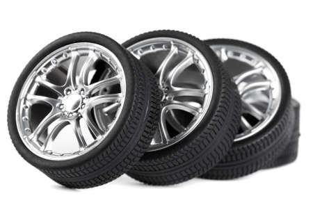 Car wheels on white background. Stock Photo - 10654407