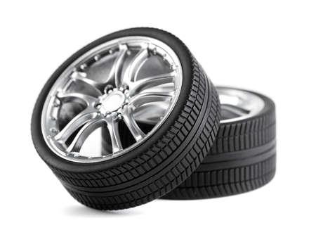 Car wheels on white background.  photo