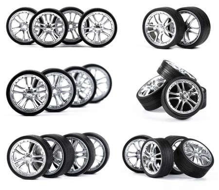 ruedas de coche: Ruedas de los coches en el fondo blanco.