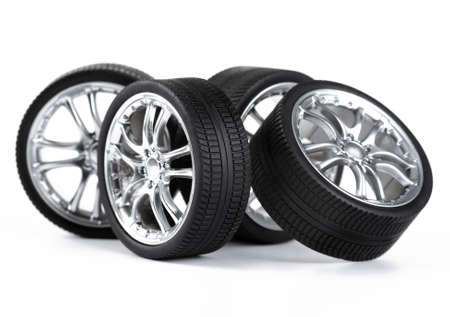 Car wheels on white background.  photo