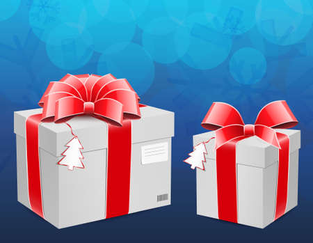 New year box with red bow  Vector