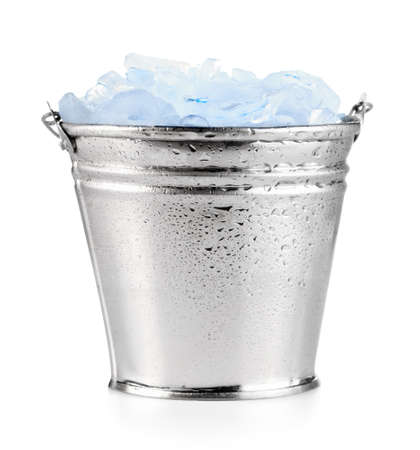 cold steel: Ice in pail Stock Photo