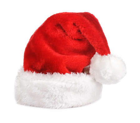 Santa claus red hat on white photo